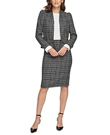 Six-Button Blazer & Tweed Skirt