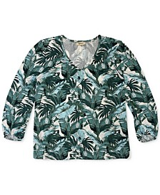 Plus Size Tropical-Print Top, Created for Macy's