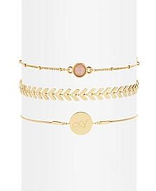 14K Gold Plated Wren Initial Bracelet Set