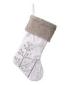White Fleece with Christmas Tree And Snowflake Stocking