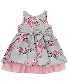 Baby Girls Printed Foil Mikado Dress With Ruffle And Bow Detail