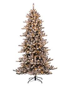 Pre-Lit Snow Flocked Fir Christmas Tree with 400 Warm Lights