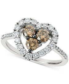 Chocolate Diamond (1/2 ct. t.w.) & Nude Diamond (3/8 ct. t.w.) Heart Statement Ring in 14k White Gold