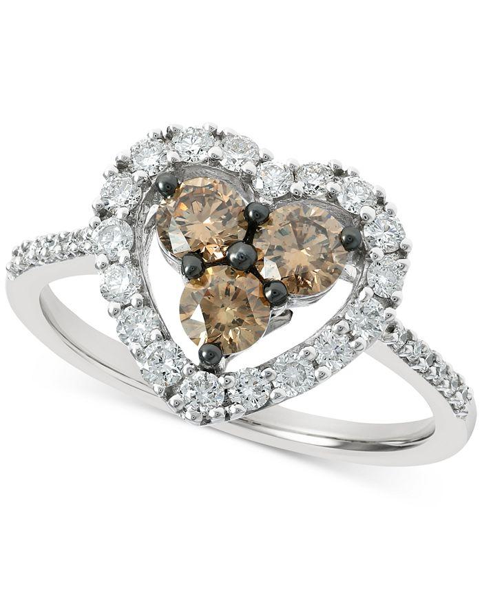 Le Vian - Chocolate Diamond (3/8 ct. t.w.) & Nude Diamond (1/2 ct. t.w.) Heart Statement Ring in 14k White Gold