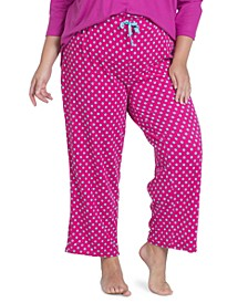 Plus Size Printed Fleece Pajama Pants