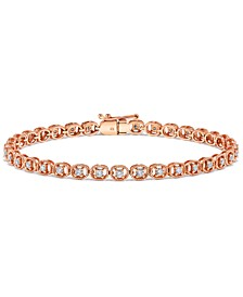 Diamond Rope-Framed Tennis Bracelet (1 ct. t.w.) in 14k Rose Gold