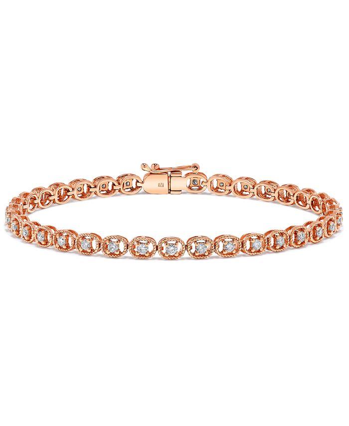 Macy's - Diamond Rope-Framed Tennis Bracelet (1 ct. t.w.) in 14k Rose Gold