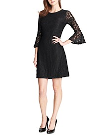 Lace Bell-Sleeve A-Line Dress
