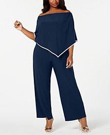 Plus Size Off-The-Shoulder Poncho Jumpsuit
