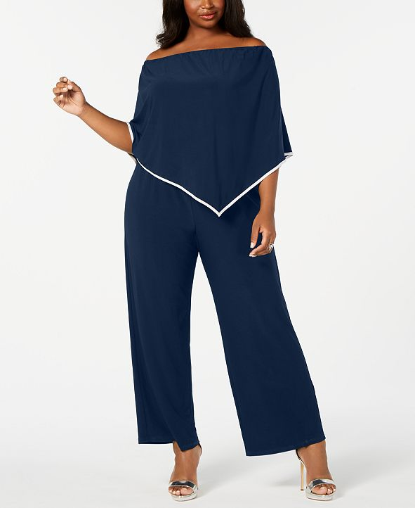 MSK Plus Size Off-The-Shoulder Poncho Jumpsuit