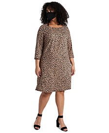 Plus Size Animal-Print Shift Dress & Face Mask Necklace