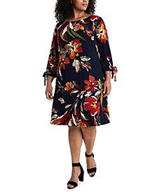 MSK Plus Size Floral-Print Tie-Sleeve Dress