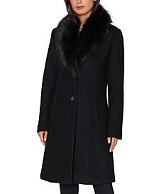 INC Faux-Fur Collar Coat, Created for Macy's