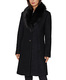 INC Faux-Fur Collar Walker Coat, Created for Macy's