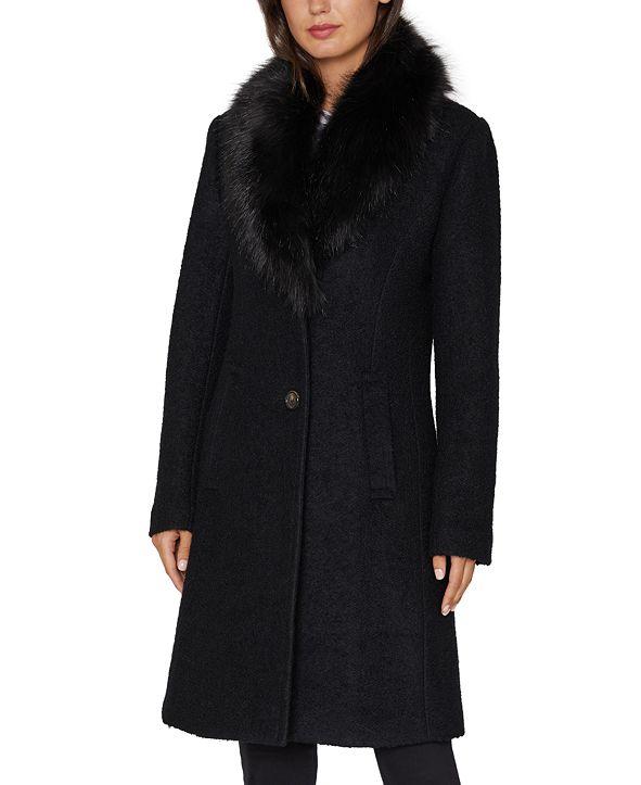 INC International Concepts INC Faux-Fur Collar Walker Coat, Created for Macy's
