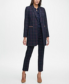 Plaid Jacket, Ruffled Tie-Neck Blouse & Plaid Pants
