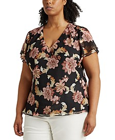 Plus Size Floral V-Neck