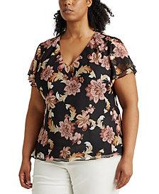 Lauren Ralph Lauren Plus Size Floral V-Neck