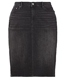 Plus-Size Classic Denim Skirt
