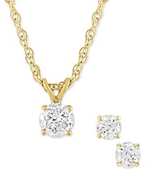 2-Pc. Set Certified Diamond Pendant Necklace & Matching Stud Earrings (1/2 ct. t.w.) in 14k White or Yellow Gold