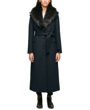 1930s Style Coats, Jackets | Art Deco Outerwear Calvin Klein Faux-Fur-Collar Maxi Coat $207.00 AT vintagedancer.com
