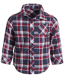 Baby Boys Plaid Cotton Flannel Shirt, Created for Macy's