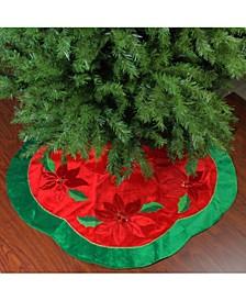 Sequined Poinsettia Christmas Tree Skirt