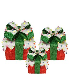 Lighted Snow and Candy Covered Sisal Gi Boxes Christmas Outdoor Decorations