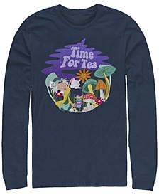 Alice in Wonderland Tea Time Filled Men's Long Sleeve Crew Neck T-shirt