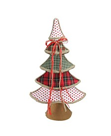 Plaid Polka Dot Christmas Tree Table top Decor