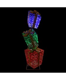 LED Lighted Shimmering Snowflake Stacked Gi Boxes Outdoor Decoration