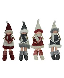 4 Count Girls with Scarf Christmas Doll Ornaments