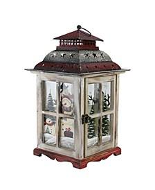 Snowman Holiday Scene Christmas Pillar Candle Lantern