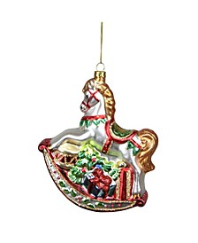 Traditional Rocking Horse with Gifts Christmas Ornament