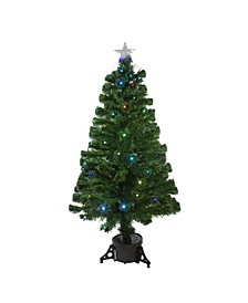 Pre-Lit Potted Fiber Optic with Star Tree Topper Medium Artificial Christmas Tree