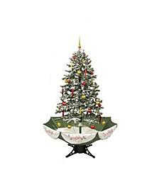 Pre-Lit Medium Musical Snowing Artificial Christmas Tree with Umbrella Base