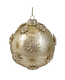 Shiny Starburst Glass Christmas Ball Ornament