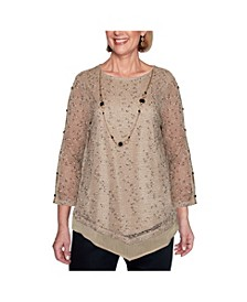 Women's Plus Size Popcorn Mesh Top