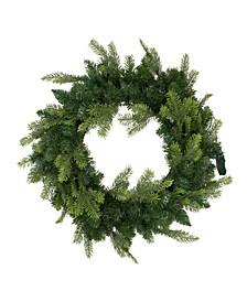 Pre-Lit Woodcrest Pine Artificial Christmas Wreath Clear Lights