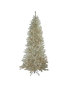 Pre-Lit Metallic Sheer Champagne Artificial Tinsel Christmas Tree-Clear Lights