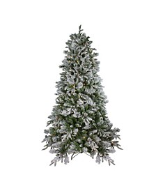 Pre-Lit Medium Flocked Mixed Colorado Pine Artificial Christmas Tree