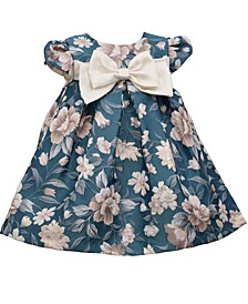 Baby Girls Teal Floral Jaquard Bow Front Trapeze