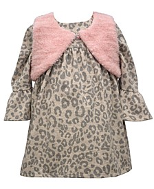 Baby Girls Long Sleeve Animal  Print Dress With Faux Fur Vest