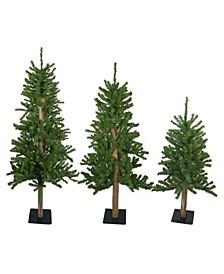 Unlit Set Of Alpine Artificial Christmas Trees