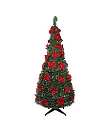 Pre-Lit Slim Poinsettia Pop-Up Artificial Christmas Tree