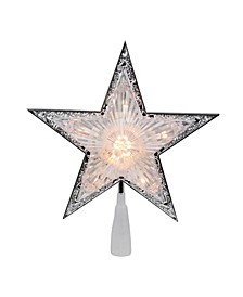 Pre-Lit Clear Crystal Point Star Christmas Tree Topper