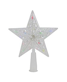 Lighted Clear Crystal Jeweled Star Christmas Tree Topper