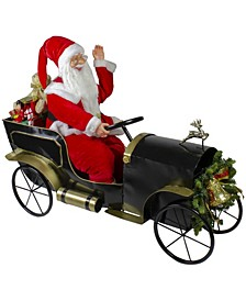 Santa Delivering Presents Vintage-Like Car Christmas Decoration