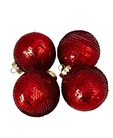 4 Count Shiny Sequin Christmas Ball Ornaments
