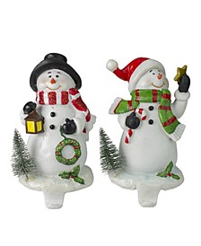 Glitter Dusted Snowman Christmas Stocking Holders, Set of 2